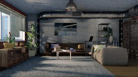 Design de interiores moderno 3D da sala de visitas do estilo do sótão Fotografia de Stock