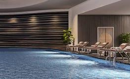 Design de interiores moderno da piscina interna com camas da associação, cena da noite, recurso do hotel, termas, contraste alto, foto de stock royalty free