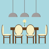 Design de interiores moderno da sala de jantar com tabela, cadeiras e lâmpadas Imagens de Stock Royalty Free
