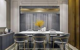 Design de interiores moderno da sala de jantar cinzenta do ouro com console lateral e cena de madeira da parede das lajes, a escu foto de stock