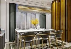 Design de interiores moderno da sala de jantar cinzenta do ouro com console lateral e cena de madeira da parede das lajes, a escu foto de stock royalty free