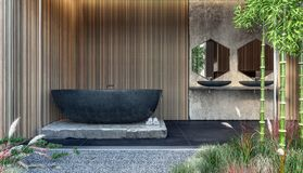 Design de interiores moderno do banheiro com a banheira de mármore preta e os painéis de parede de madeira imagem de stock