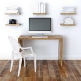 Design de interiores moderno do escritório domiciliário com Bookshelve Imagens de Stock Royalty Free