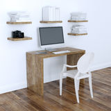 Design de interiores moderno do escritório domiciliário com versão das estantes 3d ilustração royalty free