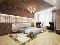 Design de interiores moderno do quarto com motivos japoneses Imagem de Stock Royalty Free
