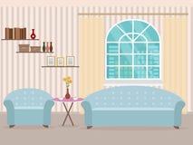 Design de interiores no estilo liso da sala de visitas com mobília, sofá, tabela, estante, flor, poltrona e janela ilustração do vetor