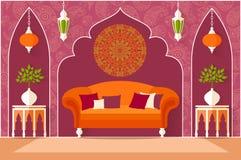 Design de interiores no estilo árabe Ilustração do vetor Fotografia de Stock Royalty Free