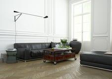 Design de interiores, sala de visitas rendição 3d Imagens de Stock