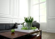 Design de interiores, sala de visitas rendição 3d Fotos de Stock
