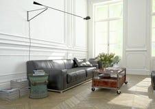 Design de interiores, sala de visitas rendição 3d Imagem de Stock