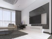 Design de interiores: Sala de visitas com um grande sofá de canto e uma unidade da tevê no estilo contemporâneo ilustração do vetor
