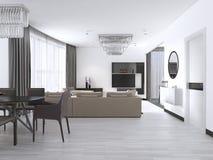 Design de interiores: Sala de visitas com um grande sofá de canto e uma unidade da tevê no estilo contemporâneo ilustração royalty free