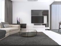 Design de interiores: Sala de visitas com um grande sofá de canto e uma unidade da tevê no estilo contemporâneo ilustração stock