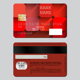 Design decoration credit card from two sides. Bright pattern of red squares with long shadows. Stock Photo