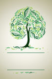 Design with decorative tree from autumn leafs Stock Image