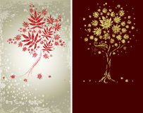 Design with decorative tree froml autumn leafs Royalty Free Stock Images