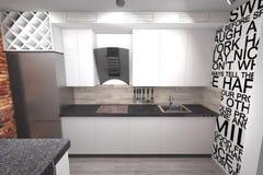 Design der Küche 3D modern lizenzfreies stockbild