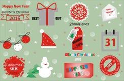 Design der Vektor-frohen Weihnachten und des guten Rutsch ins Neue Jahr Stockfotos
