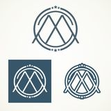 Design des Buchstaben M Logo With Retro lizenzfreies stockfoto
