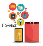 Design des elektronischen Geschäftsverkehrs, des Einkaufens und des Marketings Lizenzfreies Stockfoto