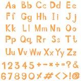 Design des englischen Alphabetes in der gelben Farbe Stockbild