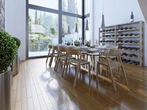 Design des Esszimmers mit braunen Möbeln Stockfotos