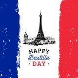 Design des Französischen Nationalfeiertags Gezogene Illustration des Eiffelturms Französischer Nationaltaghintergrund 14. Juli Ko Lizenzfreie Stockbilder