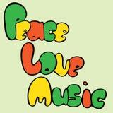 Design des Friedens, der Liebe und der Musik in der Blasenart in den grünen, gelben und roten Farben Auch im corel abgehobenen Be vektor abbildung
