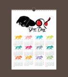 Design des Kalenders 2018 Chinesisches neues Jahr, das Jahr der Hundetierkreismonatskartenschablonen Satz von 12-monatigem Stockfoto