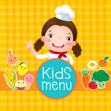 Design des Kindermenüs mit lächelndem Mädchenchef Stockbild
