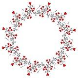 Design des Kranzes mit Brunchs und Herzen lizenzfreie abbildung