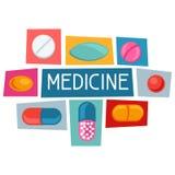 Design des medizinischen Hintergrundes mit Pillen und Kapseln stock abbildung