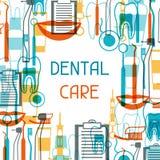 Design des medizinischen Hintergrundes mit zahnmedizinischen Ikonen Stockbild