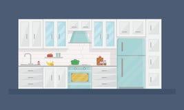 Design des modernen Kücheninnenraums in der flachen Art mit Geräten und Möbeln Stockfotografie