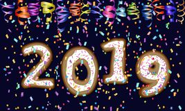 Design des neuen Jahr-2019 lizenzfreie abbildung