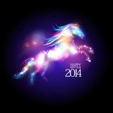 Design des neuen Jahres 2014 mit Karikaturpferd. Lizenzfreies Stockbild
