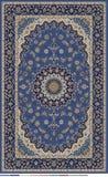 Design des persischen Teppichs redigiert in der blauen beige und dunklen Marine mit Grenze vektor abbildung