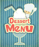 Design of Dessert menu with chef and Ice Cream. In Retro Style - illustration Royalty Free Stock Photography