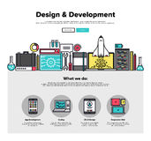 Design develop flat line web graphics. One page web design template with thin line icons of development services by design studio. UI and UX for web, app coding Royalty Free Stock Photos