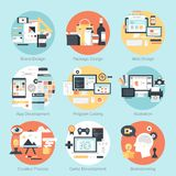 Design and Development. Abstract flat vector illustration of design and development concepts. Elements for mobile and web applications Royalty Free Stock Photography
