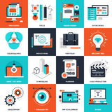 Design and Development. Abstract vector collection of flat design and development icons. Elements for mobile and web applications Royalty Free Stock Photos