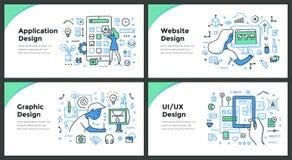 Design & Development Color Doodle Concepts stock illustration