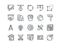 Design and Development. Set of outline vector icons. Includes such as Brainstorming, Retouching, Programming and other. Editable Stroke. 48x48 Pixel Perfect Royalty Free Stock Image