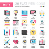 Design and Development. Vector set of design and development flat web icons. Each icon neatly designed on pixel perfect 64X64 size grid. Fully editable and easy royalty free illustration