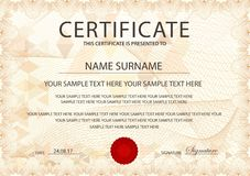 Certificate template with Guilloche pattern, frame border royalty free stock photography