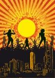 Summer City Party Orange Sun. Design for disco party flyer. Eps10  file Stock Photos