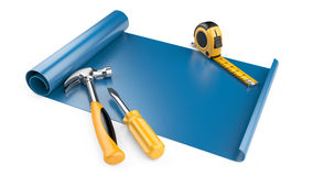 The design document - the drawing and working tools Stock Image