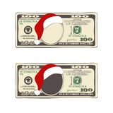 Set of Christmas bill one hundred dollars with Santa Claus hat. Design of 100 dollars with Santa Claus hat. Set of Christmas bill one hundred dollars. Template Vector Illustration