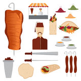 design doner kebab elements and chef Stock Image
