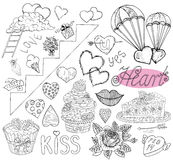 Design doodle set withhand drawn love symbols and text Royalty Free Stock Photography